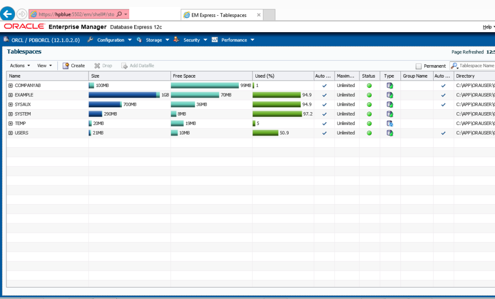 EM12c comes to the rescue when you need a Tablespace for the new Application (2/6)