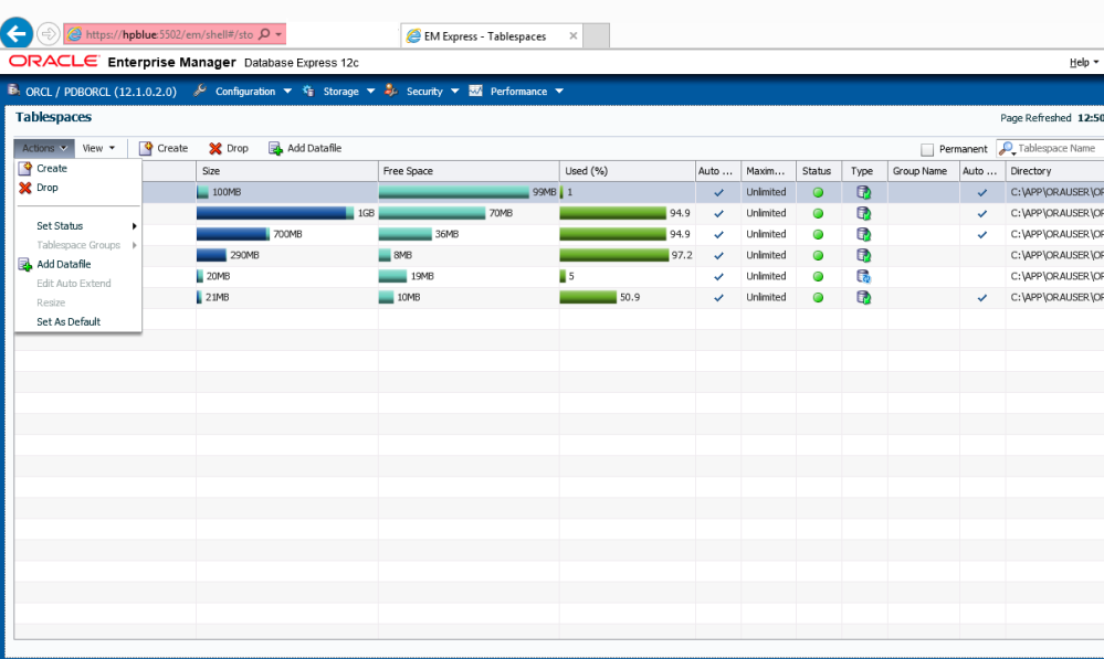 EM12c comes to the rescue when you need a Tablespace for the new Application (3/6)
